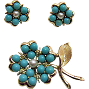 Vintage Signed Sarah Coventry Beaded Flower Brooch Earring Set