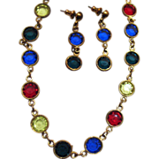 Gorgeous Colette Glass Stone Necklace & Earrings Set