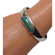 Vintage Sterling Silver Turquoise Stone Cuff Bracelet