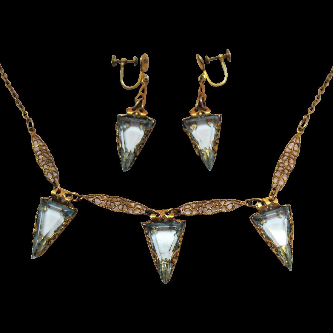 60% OFF Amazing Antique Edwardian Aquamarine Glass Deltoid Stones Handcrafted Filigree Necklace Earrings Set