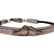 Vintage Sterling Silver Leather Horse Motif Bracelet