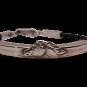 50% Off Unique Vintage Sterling Silver Leather Horse Motif Bracelet