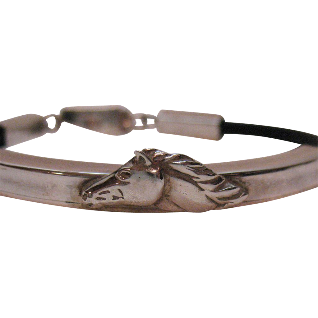 Unique Vintage Sterling Silver Leather Horse Motif Bracelet