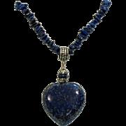 Signed DTR 925 Vintage Lapis Heart Necklace Sterling Silver