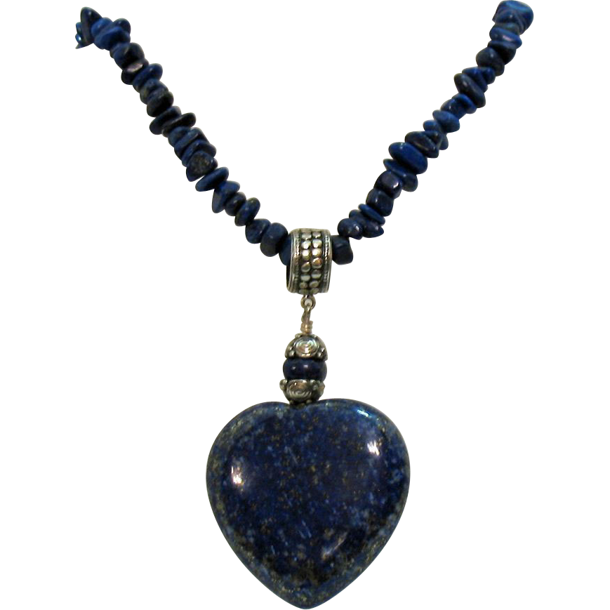 50% Off Signed DTR 925 Vintage Lapis Heart Necklace Sterling Silver