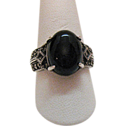Signed Sterling RJ Graziano Avon Ring~Marcasite Black Onyx