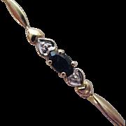 Vintage 10K Gold Blue Sapphire Heart Bracelet