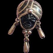 Vintage Sterling Silver Black Onyx Aztec Tribal Face Brooch
