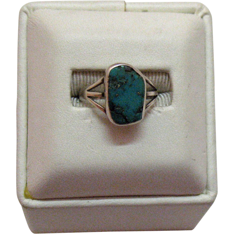 60% OFF Sterling Silver Vintage Native American Indian Turquoise Ring