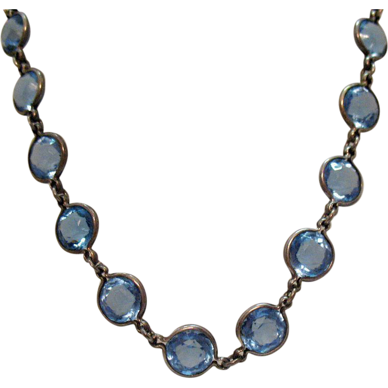 Art Deco Vintage Collet Blue Sapphire Glass Sterling Silver Necklace