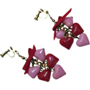 Pretty Pink Red Dangle Vintage Heart Earrings