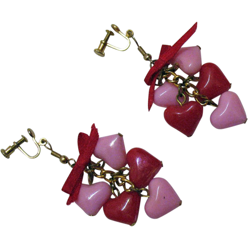 50% OFF Pretty Pink Red Dangle Vintage Heart Earrings