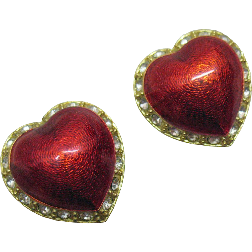Gorgeous Vintage Stained Glass Heart Clip Earrings~Signed Victoria Secerets