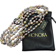 Vintage Estate Honora Fresh Water Cultured Baroque Pearl Necklace 54 Inches Long