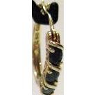 Vintage Sterling Vermeil Huggie Hoop Blue Sapphire Pierced Earrings