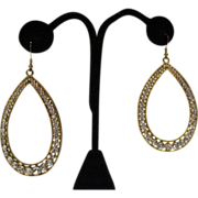 Bold Vintage 3 ¼ Inch Long Shoulder Duster Rhinestone Hoop Pierced Earrings