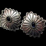 Unusual Vintage Concho Sterling Silver Pierced Earrings