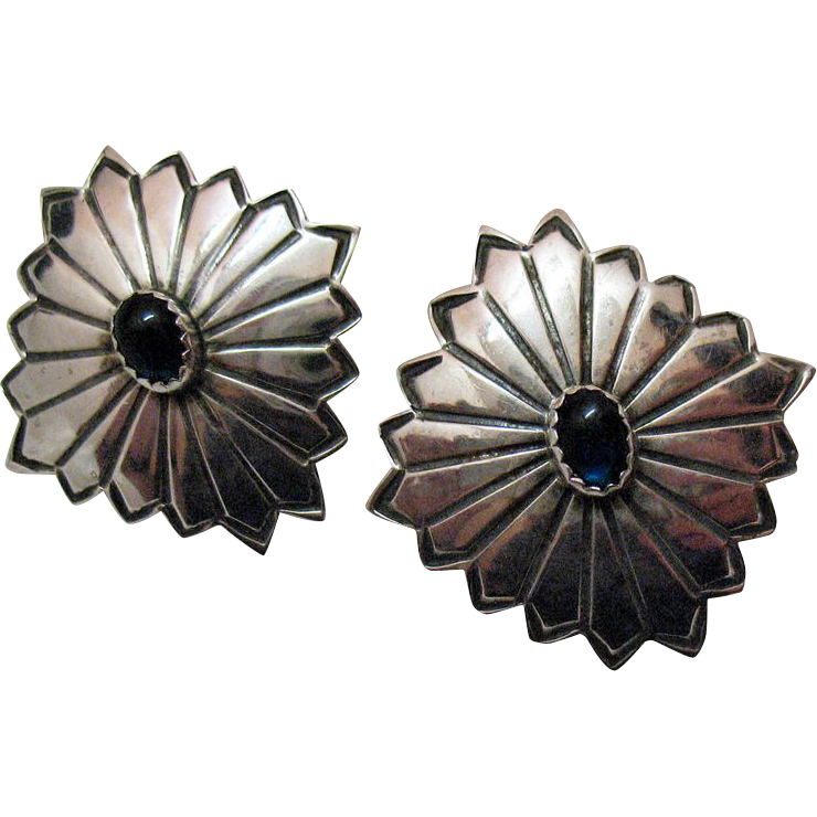 Unusual Vintage Concho Sterling Silver Pierced Earrings