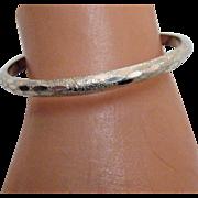 Vintage Sterling Silver Chased Bangle Bracelet