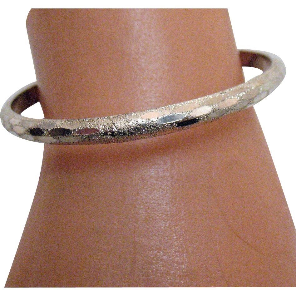 Vintage Sterling Silver Chased Bangle Bracelet