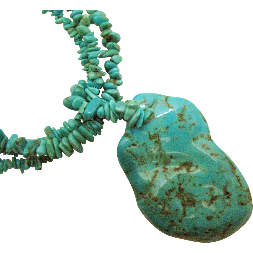 Bold Vintage Turquoise Nugget Sterling Silver Necklace Signed DTR Jay King