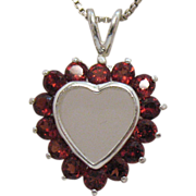 Vintage Sterling Silver Heart Bohemian Red Garnet Heart Necklace