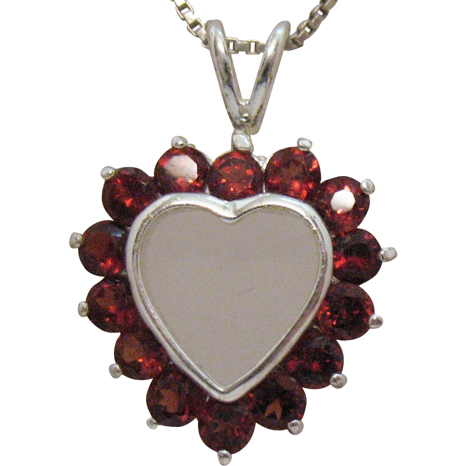 Vintage Sterling Silver Heart Bohemian Red Garnet Heart Necklace
