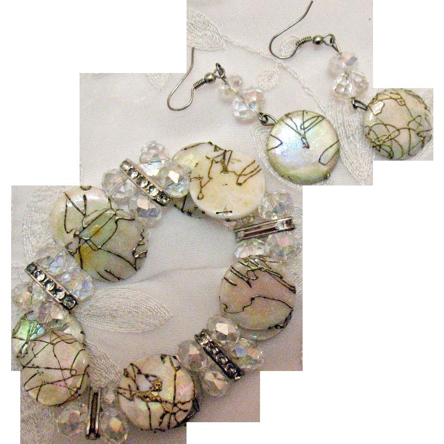 Vintage MOP Rhinestones Crystal Bead Bracelet Pierced Earrings Set