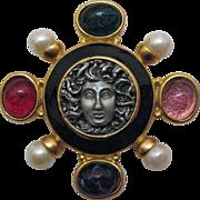 Vintage Medusa Mogul Glass Pendant Brooch