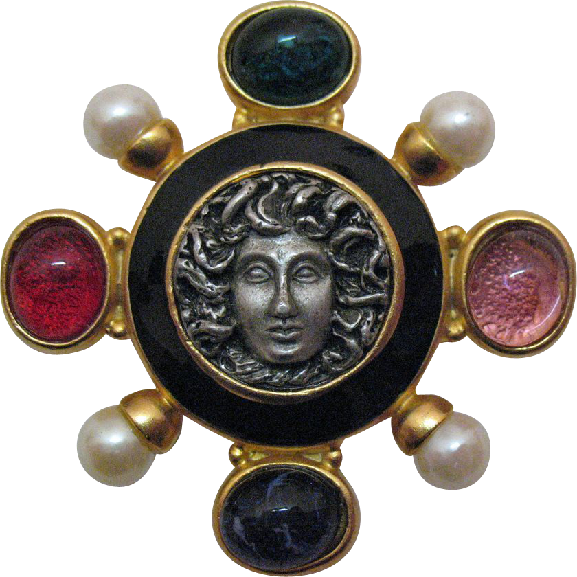 50% OFF Vintage Medusa Mogul Glass Pendant Brooch