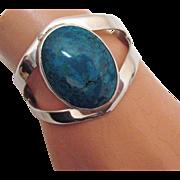 Captivating Vintage Taxco Sterling Silver Turquoise Bracelet BOLD TC-15