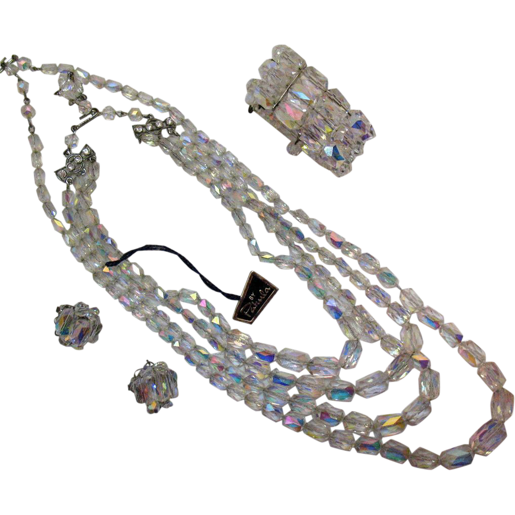 Vintage Four Piece Crystal Faceted Glass Beaded Costume Jewelry Parure by Pakula