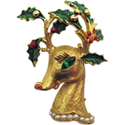 Signed Hattie Carnegie Vintage Christmas Reindeer Brooch