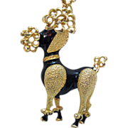 50% Off Awesome Gigantic Vintage Poodle Pendant Necklace