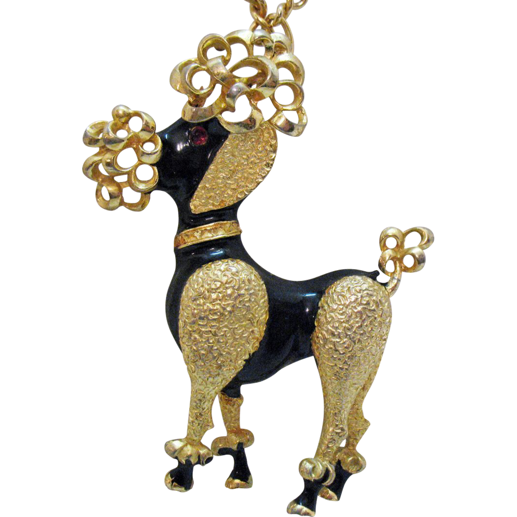 Gigantic Vintage Poodle Pendant Necklace