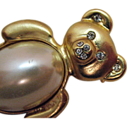 Vintage Golden White Faux Pearl Teddy Bear Brooch/Pin