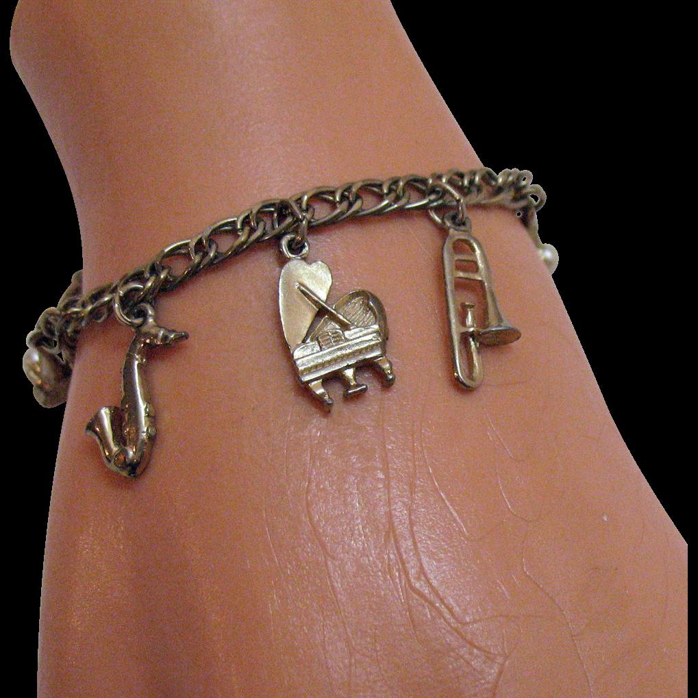 50% Off Darling Vintage Musical Instruments Charm Bracelet