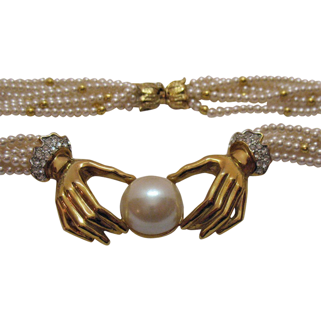 Vintage Six Strand Faux Pearl Hand Necklace