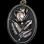 Vintage Signed International Sterling Silver Rose Pendant