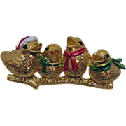 Vintage Signed AJC Singing Christmas Bird Brooch