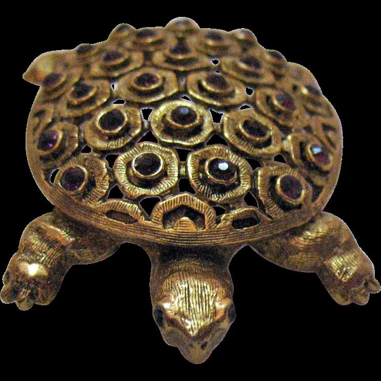 50% Off Awesome Big Bold Vintage Turtle Brooch Amethyst Rhinestones