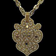 Vintage Signed Crown Trifari Gold Medallion Pendant Necklace