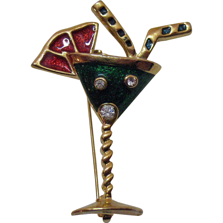 Vintage Stained Glass Enameled Martini Glass Brooch