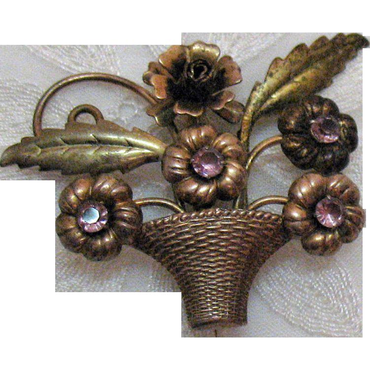Vintage Signed Sterling Enze Amethyst Floral Basket Brooch