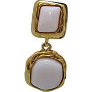 Vintage Etruscan Style White Glass Dangle Earrings