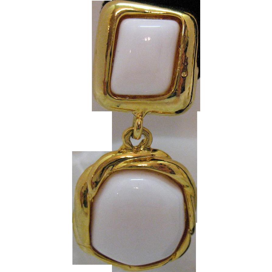 Vintage Etruscan Style White Glass Dangle Earrings