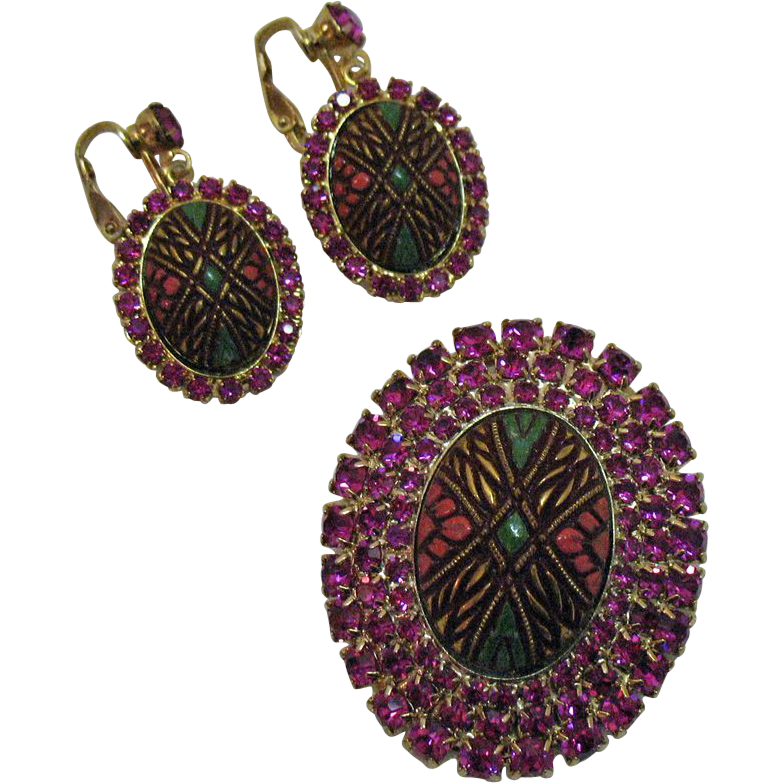 Moroccan D&E Juliana Vintage Rhinestone Enameled Brooch Earrings Set