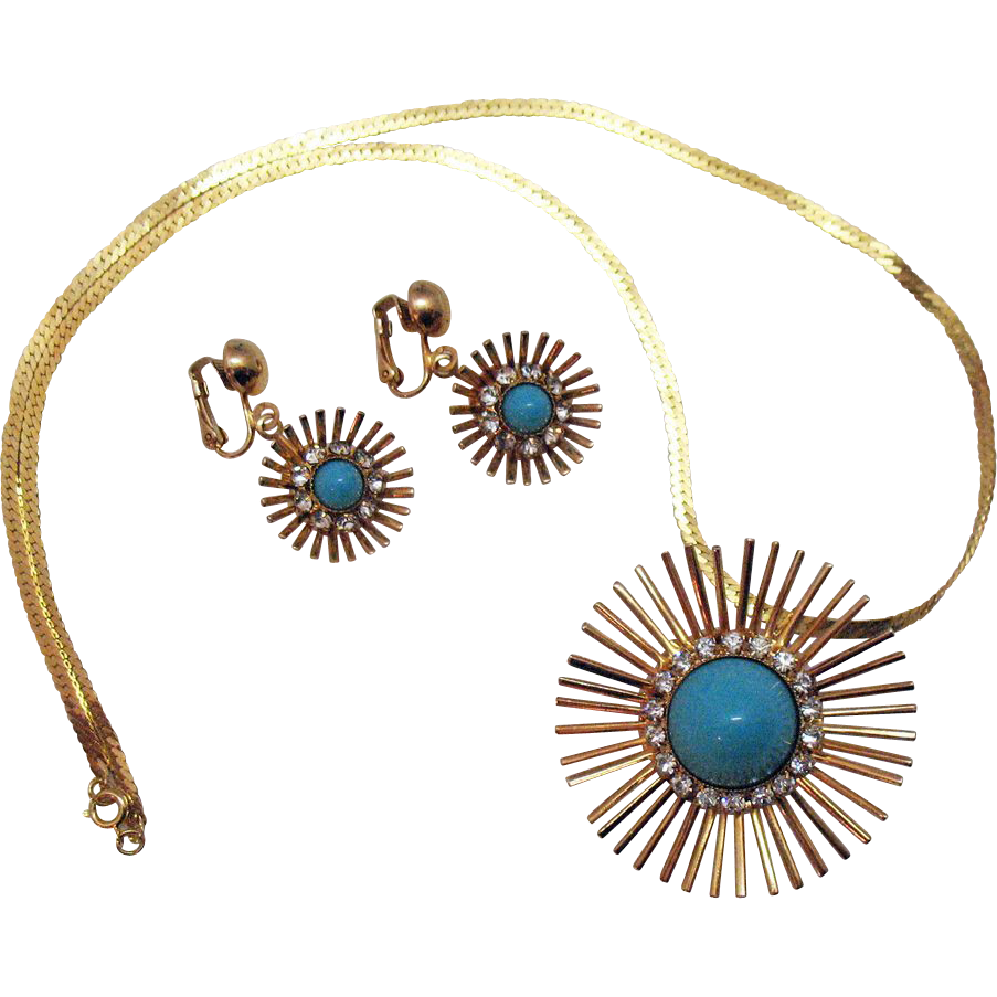 Awesome Vintage Park Lane Necklace Brooch Earrings Set~Faux Turquoise Rhinestone Sun Burst