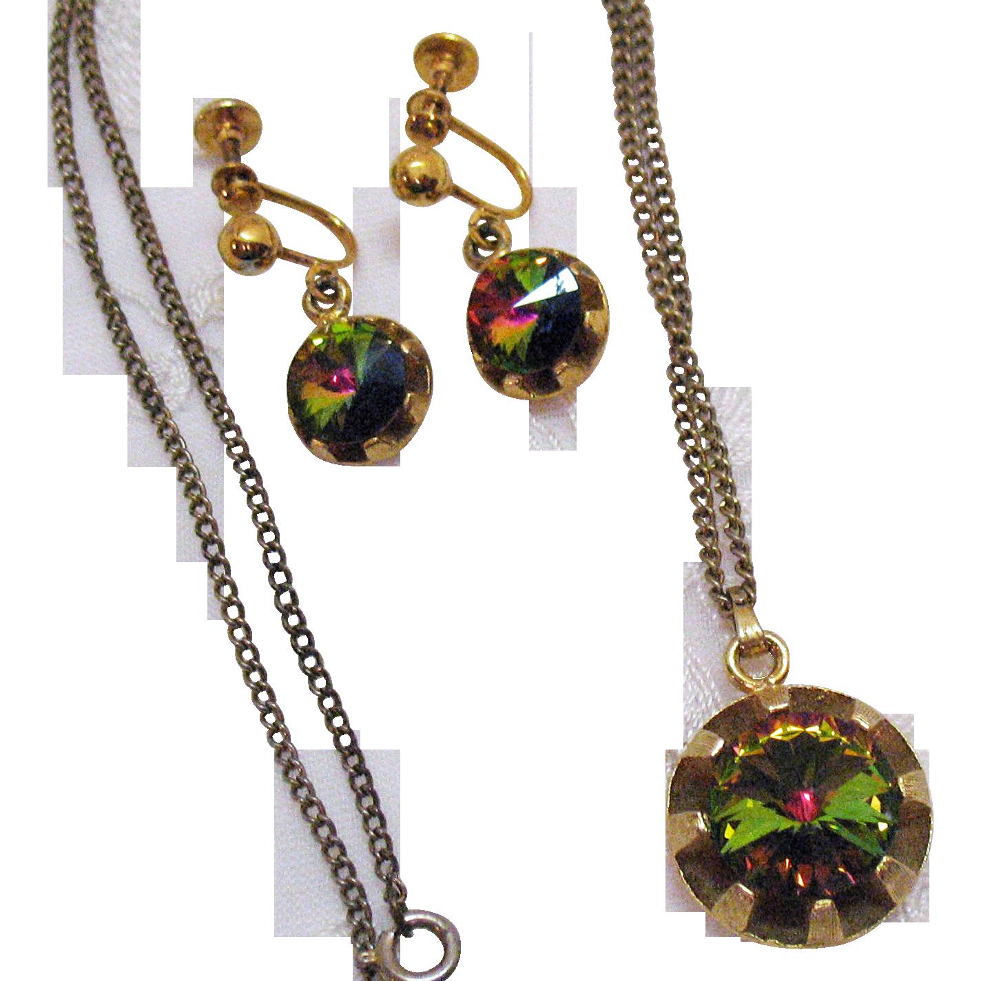 50% Off Signed Vintage Watermelon Rivoli Rhinestone Necklace Earrings Set