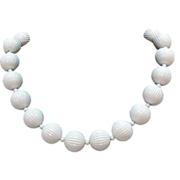 Early Signed Monet Vintage White Ribbed Beaded Necklace